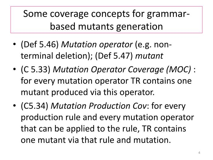 Some coverage concepts for grammar-based mutants generation