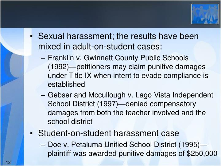 Sexual harassment; the results have been mixed in adult-on-student cases: