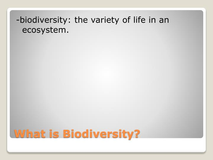 -biodiversity: the variety of life in an ecosystem.