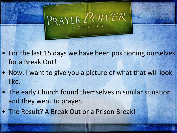 For the last 15 days we have been positioning ourselves for a Break Out!
