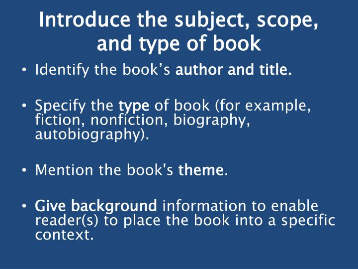 Introduce the subject, scope, and type of book