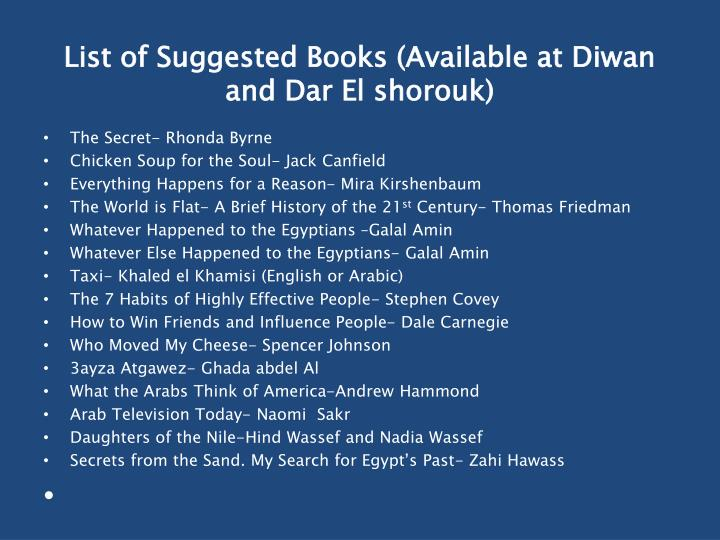 List of Suggested Books (Available at Diwan and Dar El shorouk)