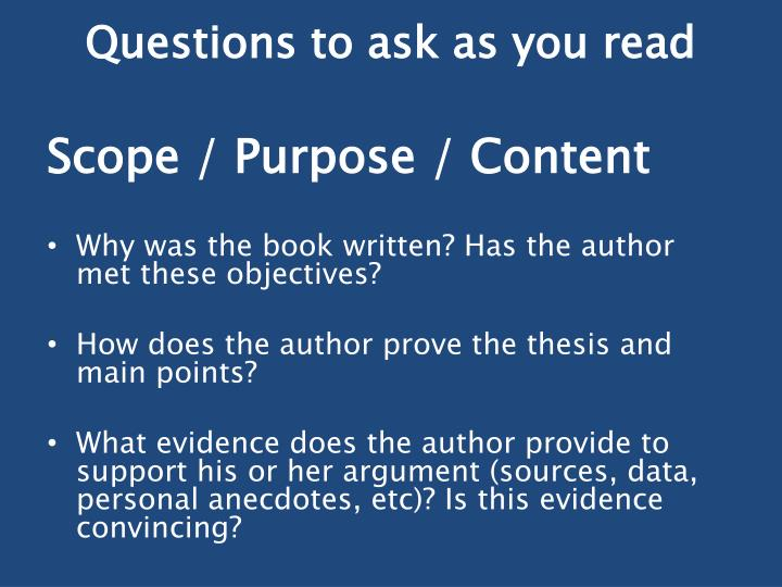 Questions to ask as you read