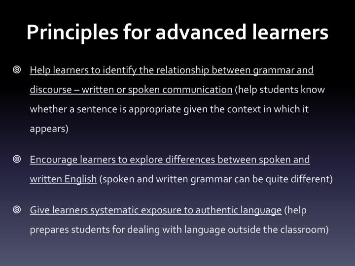 Principles for advanced learners