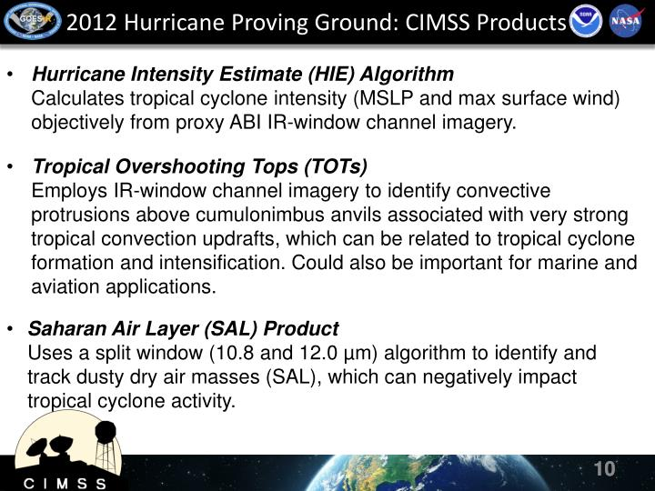 2012 Hurricane Proving Ground: CIMSS Products