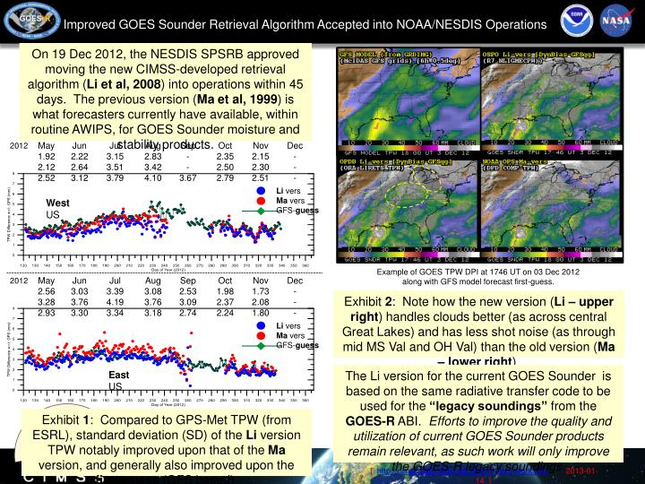 Improved GOES Sounder Retrieval Algorithm Accepted into NOAA/NESDIS Operations