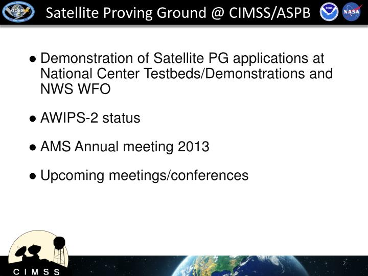 Satellite Proving Ground @ CIMSS/ASPB