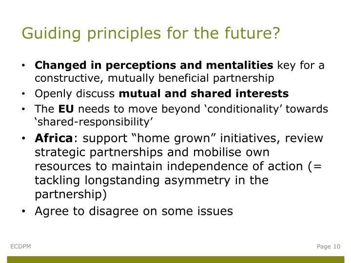 Guiding principles for the future?
