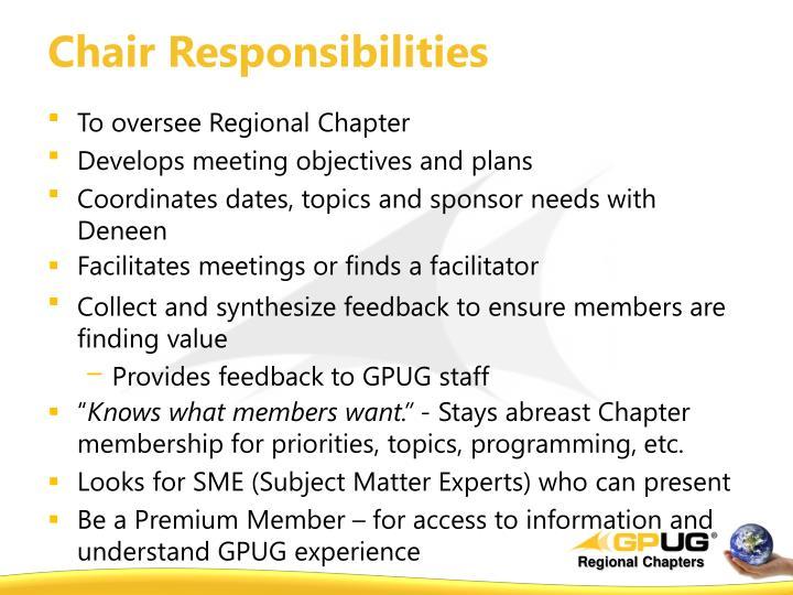 Chair Responsibilities