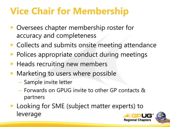 Vice Chair for Membership
