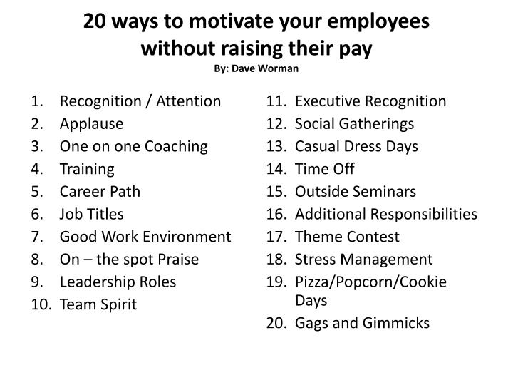 20 ways to motivate your employees