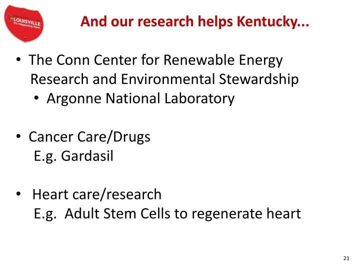 And our research helps Kentucky...