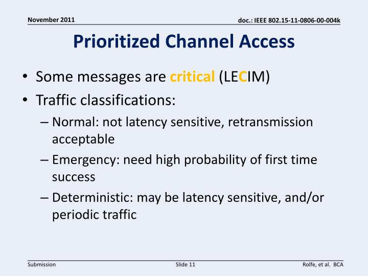 Prioritized Channel Access