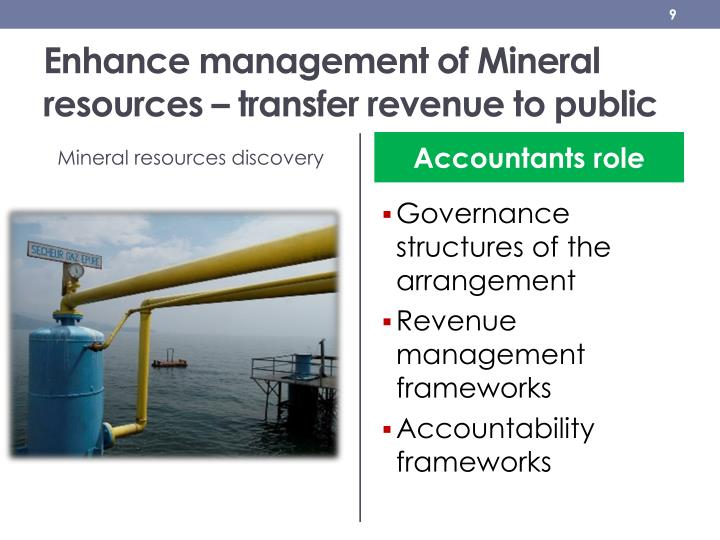 Enhance management of Mineral resources – transfer