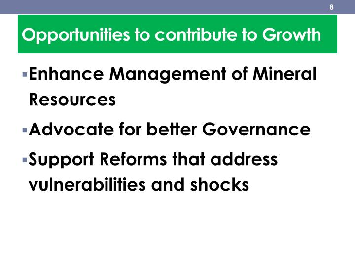 Opportunities to contribute to Growth