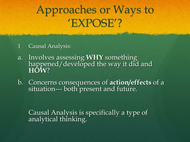Approaches or Ways to 'EXPOSE'?