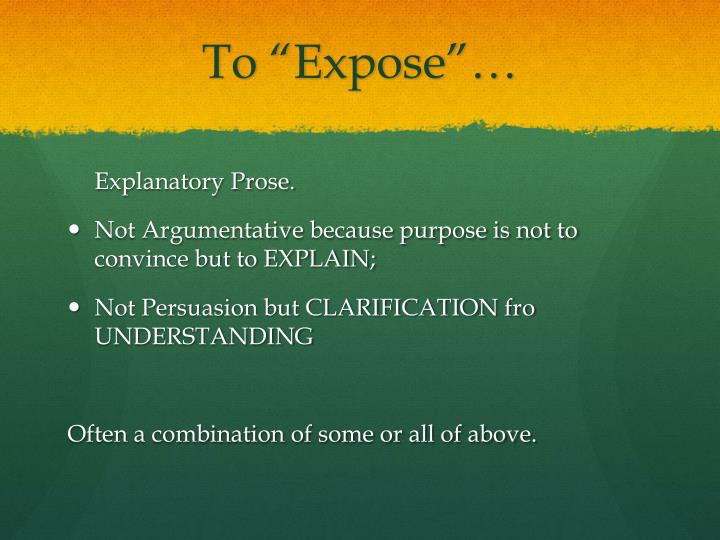 """To """"Expose""""…"""