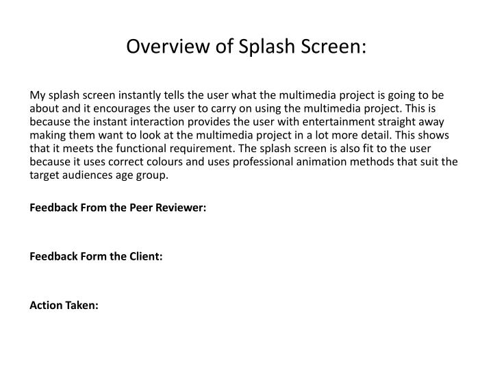 Overview of Splash Screen: