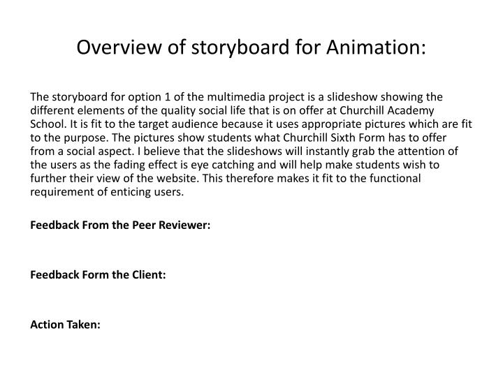 Overview of storyboard for Animation: