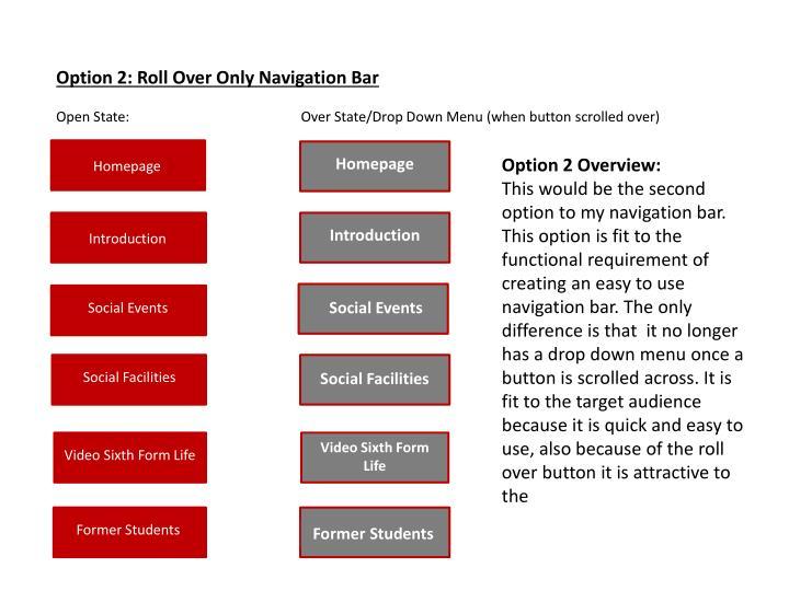 Option 2: Roll Over Only Navigation Bar