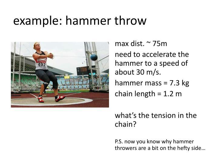 example: hammer throw