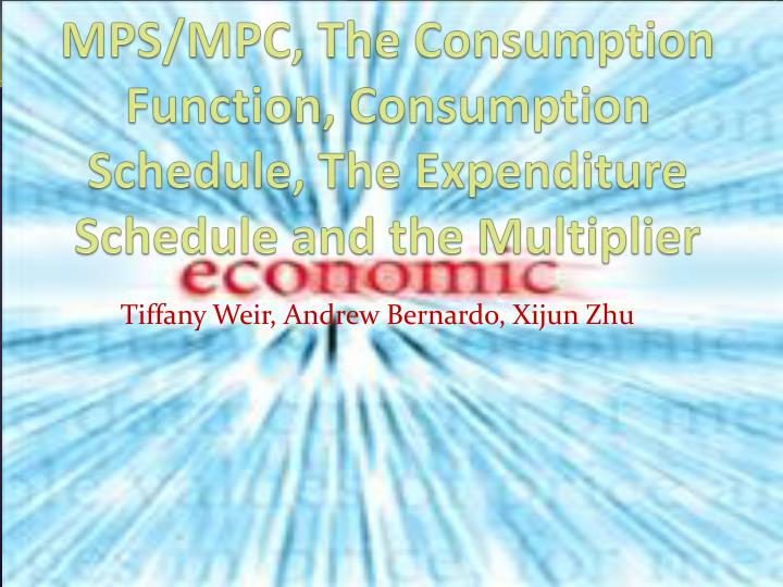 MPS/MPC, The Consumption Function, Consumption Schedule, The Expenditure Schedule and the Multiplier