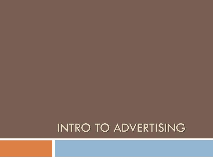 intro to advertising