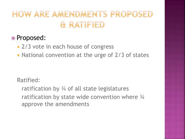How are Amendments proposed & ratified