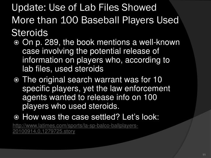 Update: Use of Lab Files Showed More than 100 Baseball Players Used Steroids