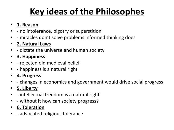 Key ideas of the Philosophes