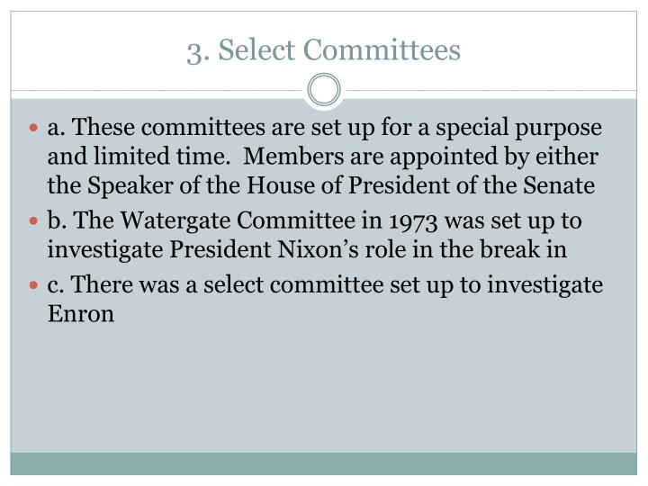 3. Select Committees