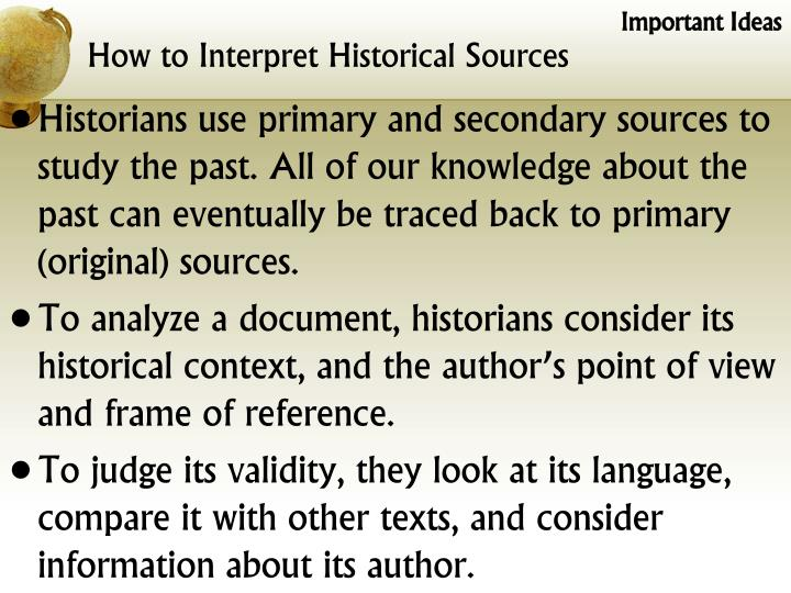 How to interpret historical sources1