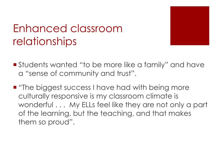 Enhanced classroom relationships