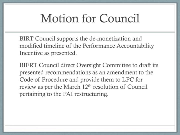 Motion for Council