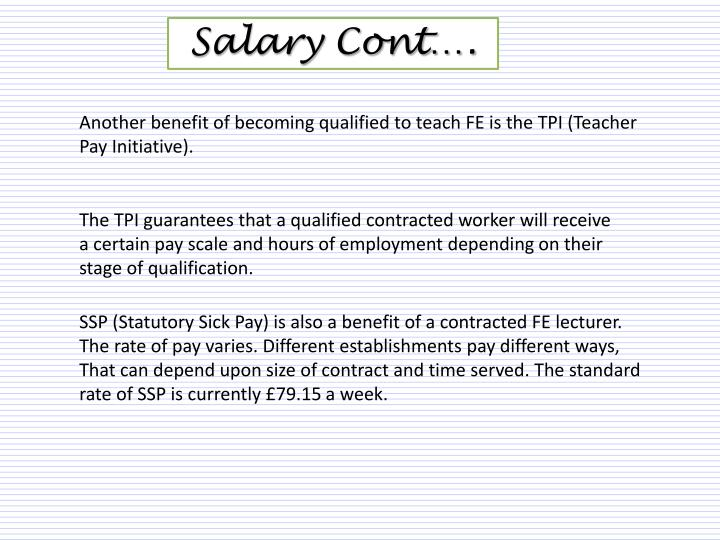 Salary Cont….