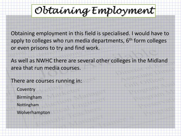 Obtaining Employment