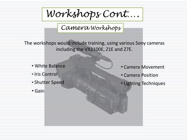Workshops Cont….
