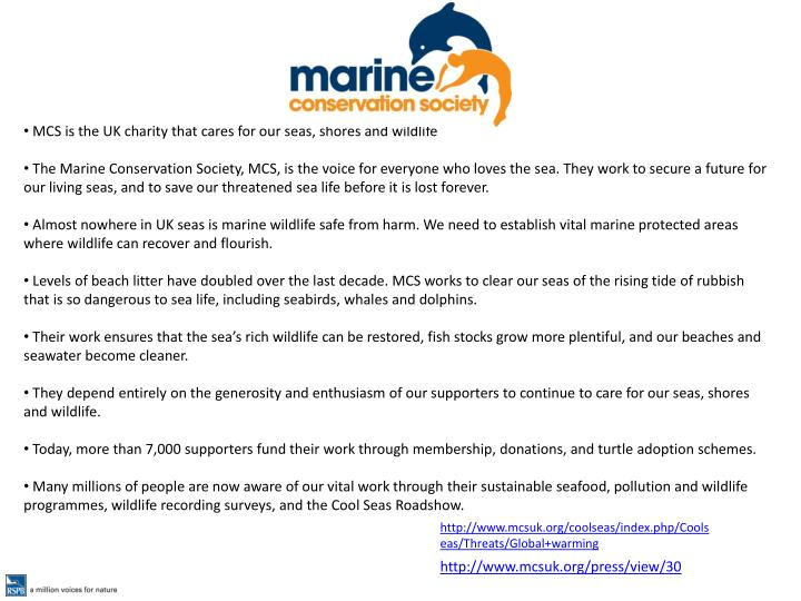 MCS is the UK charity that cares for our seas, shores and wildlife