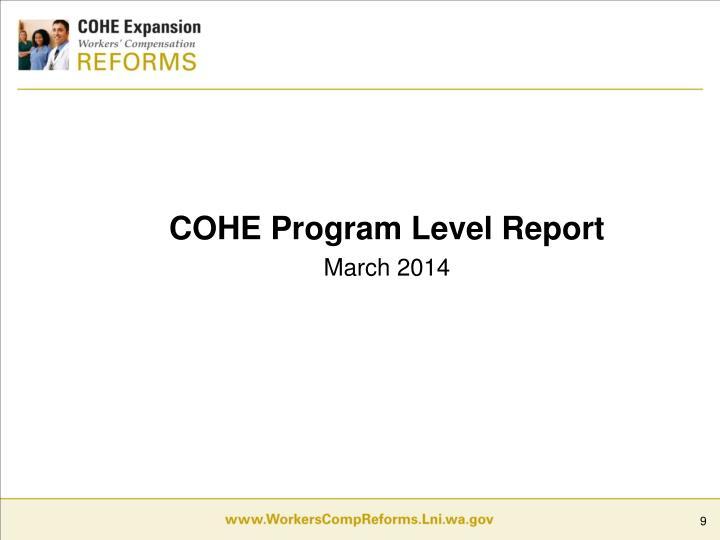 COHE Program Level Report