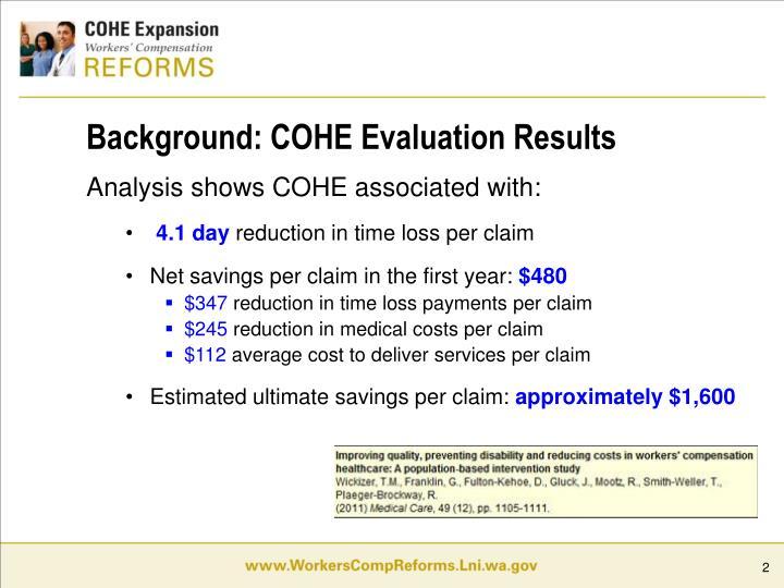 Background: COHE Evaluation