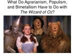 what do agrarianism populism and bimetallism have to do with the wizard of oz