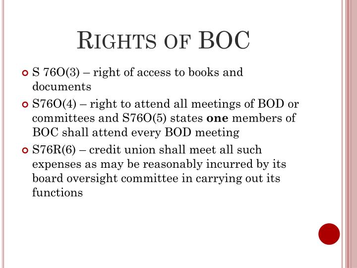Rights of BOC