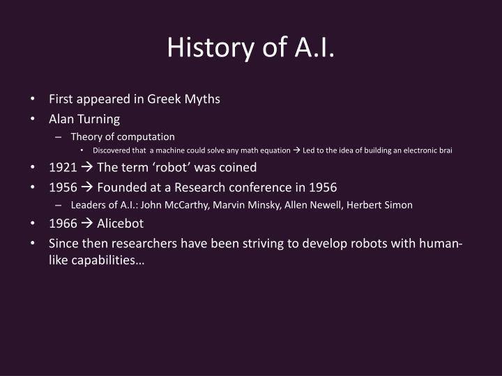 History of A.I.