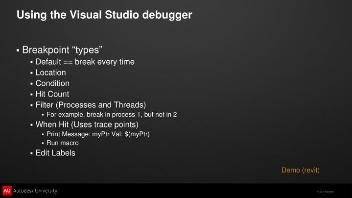 Using the Visual Studio debugger