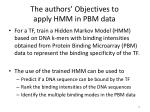 the authors objectives to apply hmm in pbm data
