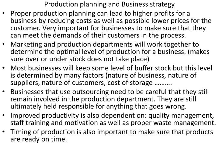 Production planning and Business strategy
