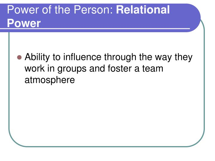 Power of the Person: