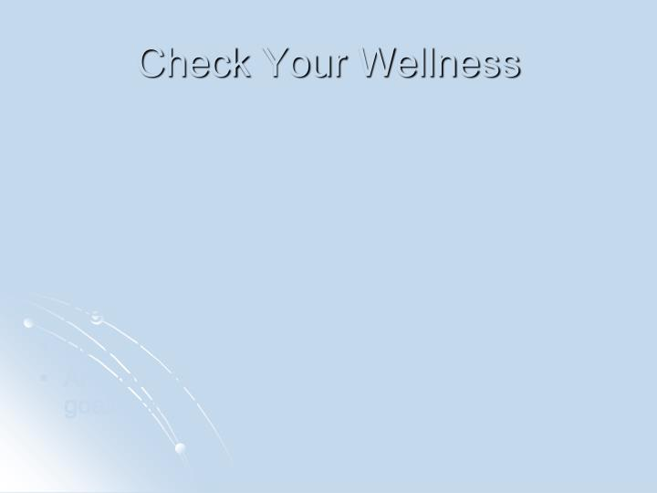 Check Your Wellness