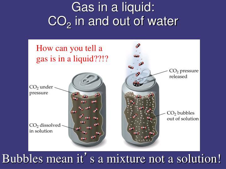 Gas in a liquid: