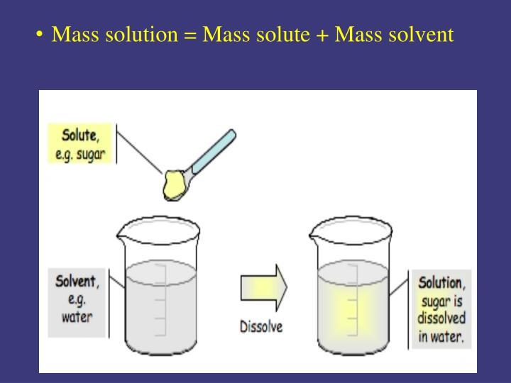 Mass solution = Mass solute + Mass solvent